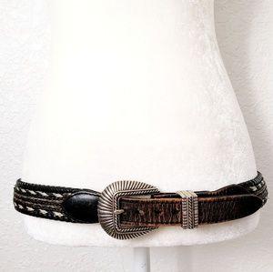Vintage Black Leather Statement Western Belt XL